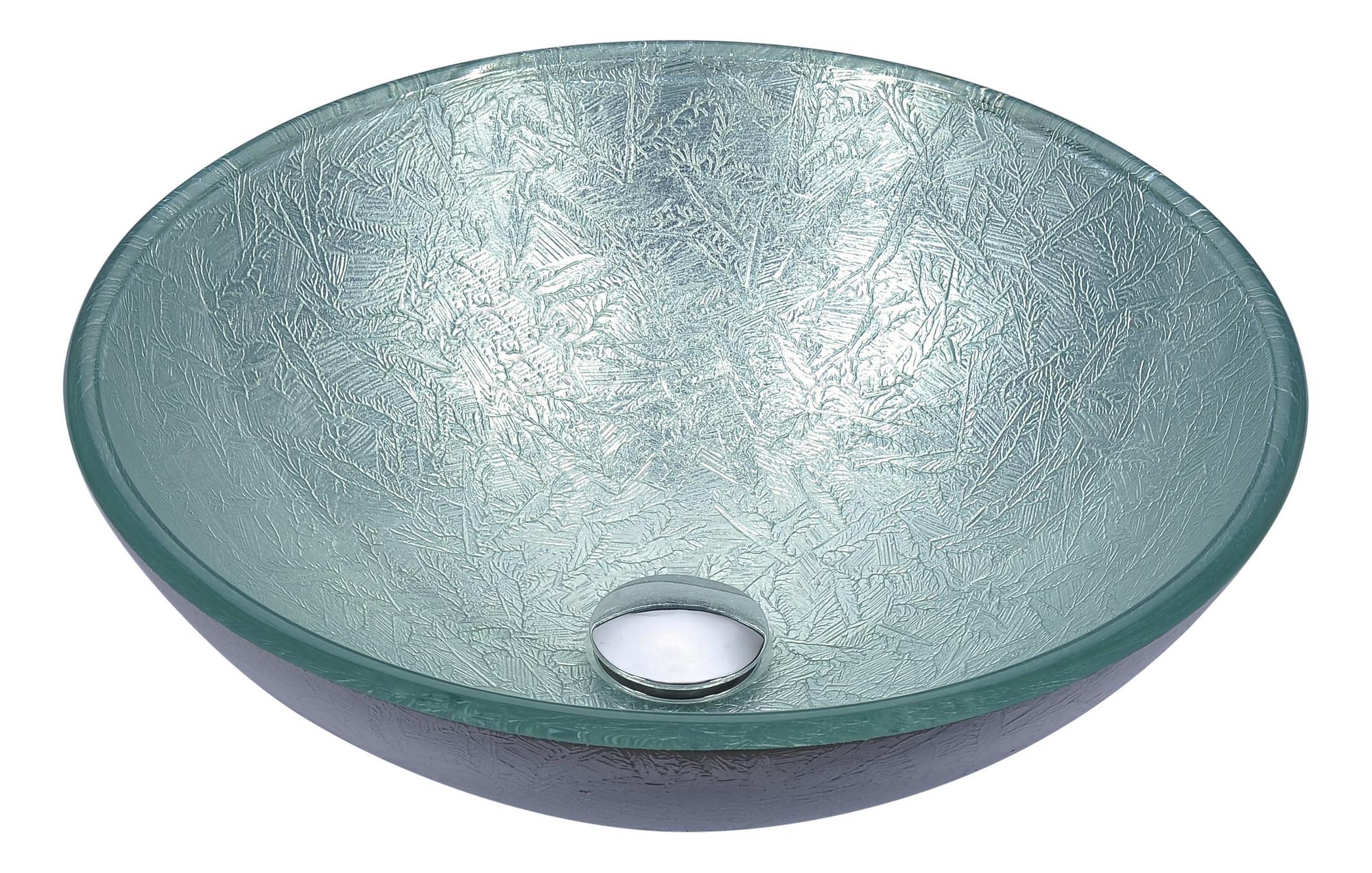 ANZZI LS-AZ296 Posh Series Deco-Glass Vessel Sink In Glacial Silver