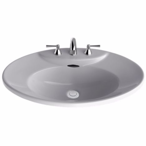 """TOTO LT909.8#11 Colonia White Pacifica® Self-Rimming Lavatory Sink With 8"""" Faucet Center"""