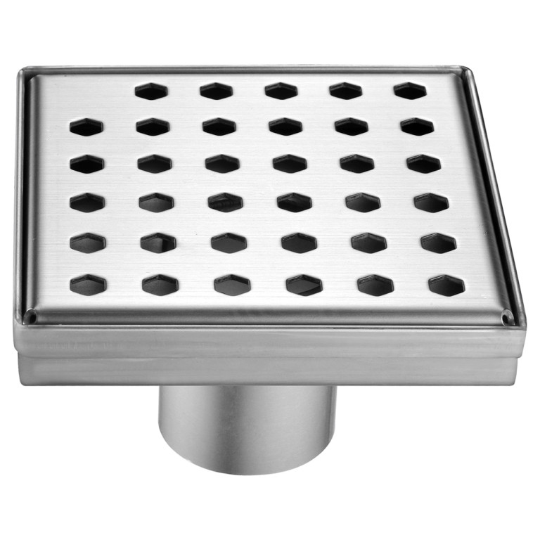 """Dawn® LTS050504 Thames River Series Square Shower Drain 5""""L In Polished Satin"""