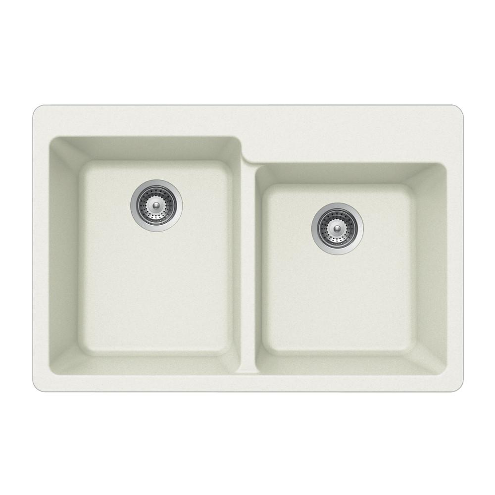 Houzer M-175 Quartztone Series Granite Topmount 60/40 Double Bowl Kitchen Sink