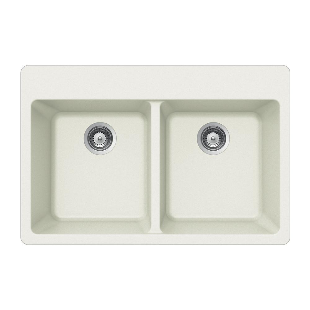 Houzer M-200 Quartztone Series Granite Topmount 50/50 Double Bowl Kitchen Sink