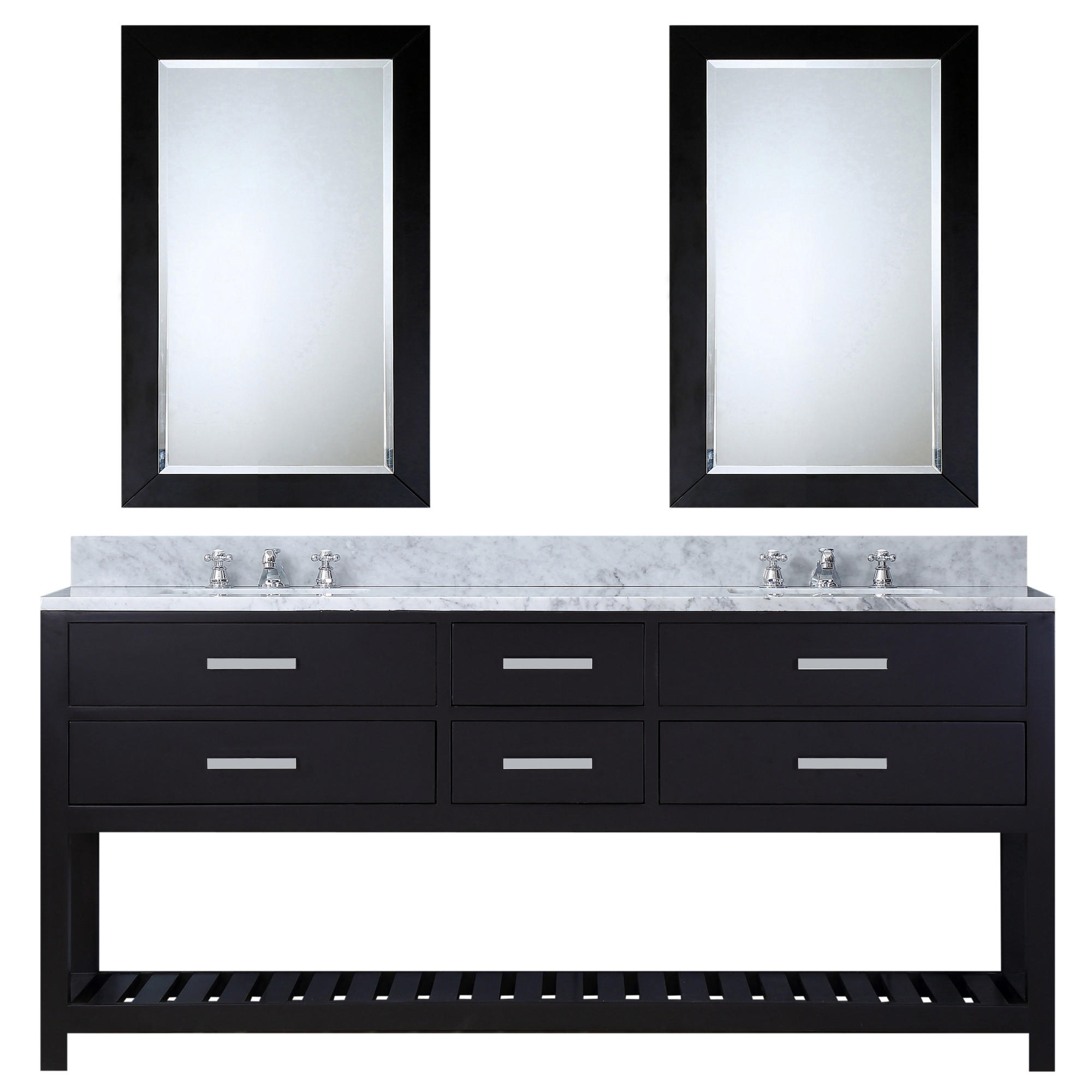 """Water Creation Madalyn72ECF 72"""" Espresso Vanity with 2 Mirrors And Faucets"""