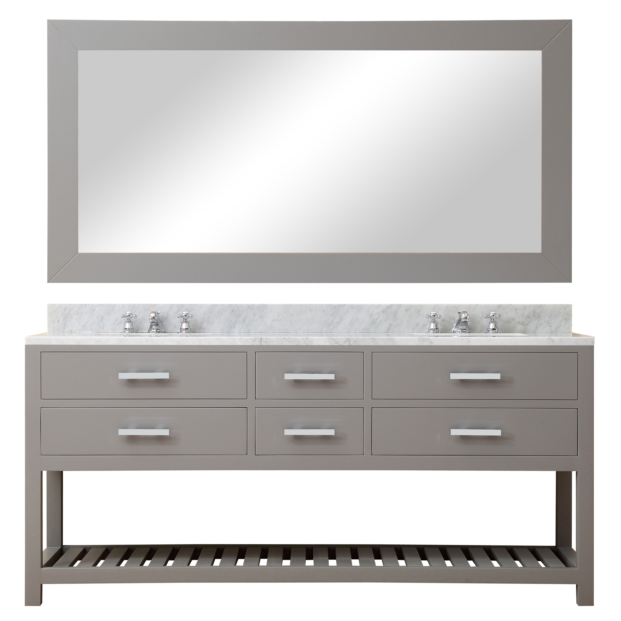 Water Creation Madalyn72GBF Grey Double Sink Vanity with Mirror And Faucet