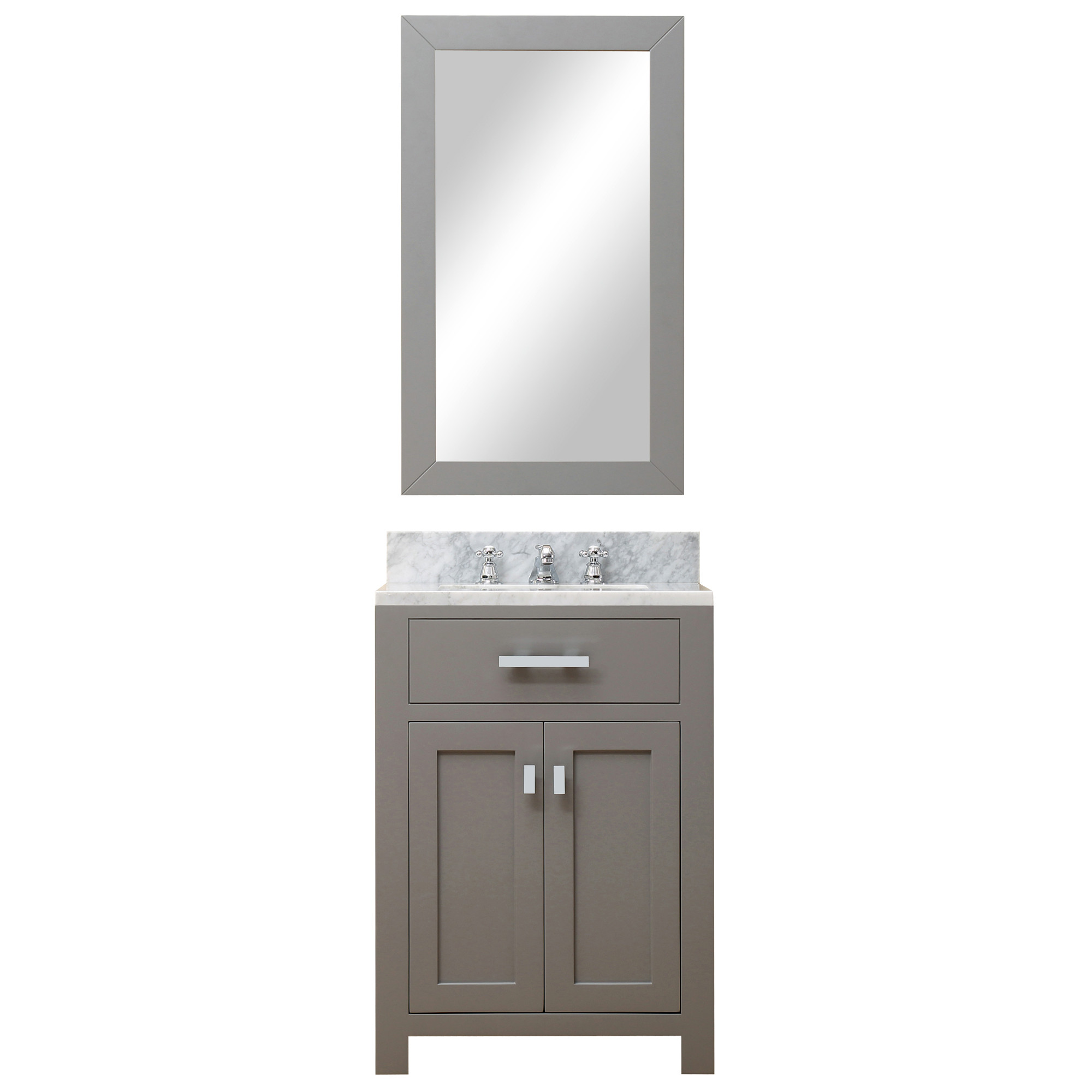 Water Creation Madison24GBF Grey Single Sink Vanity With Mirror And Faucet