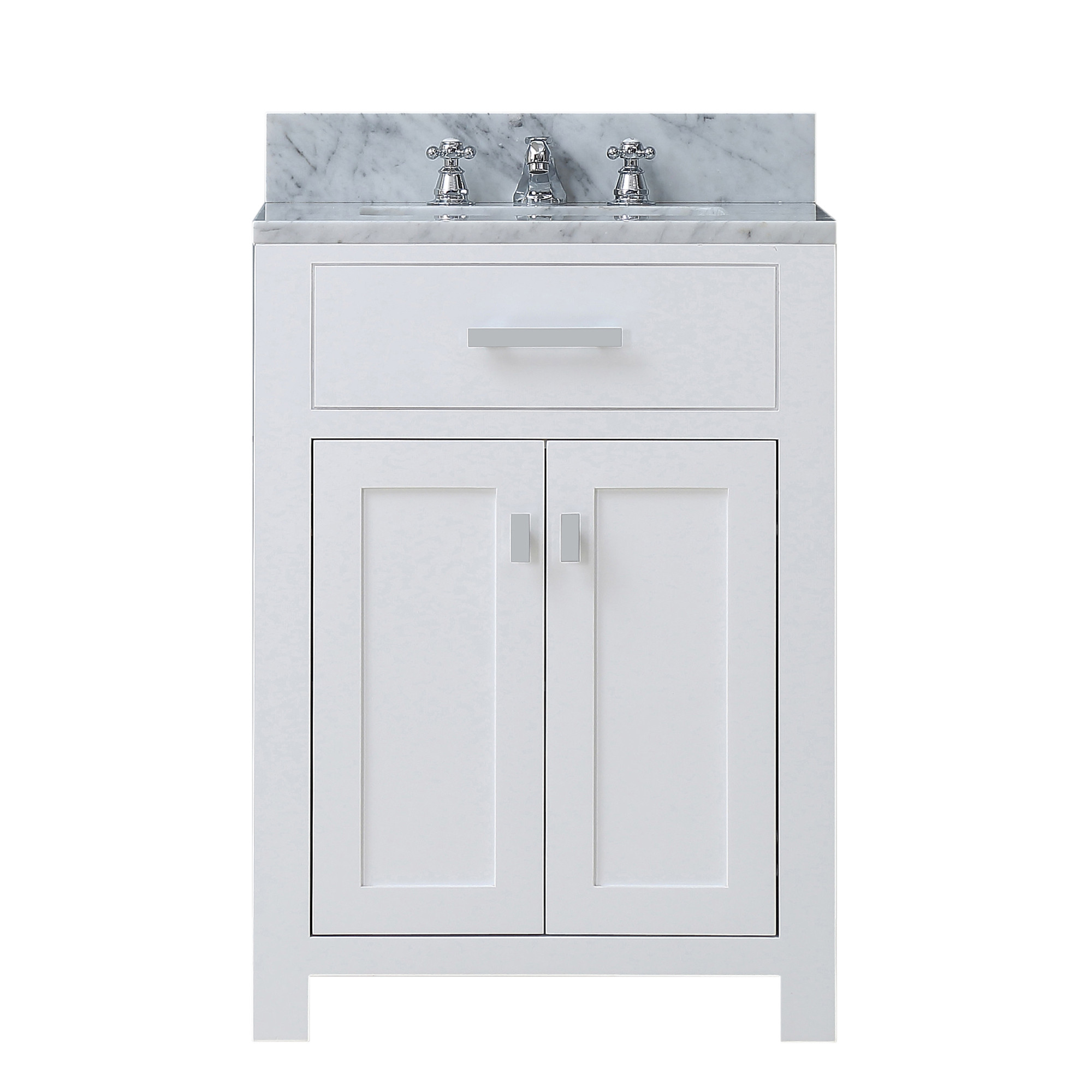 "Water Creation Madison24WF 24"" Solid White Single Sink Vanity And Faucet"