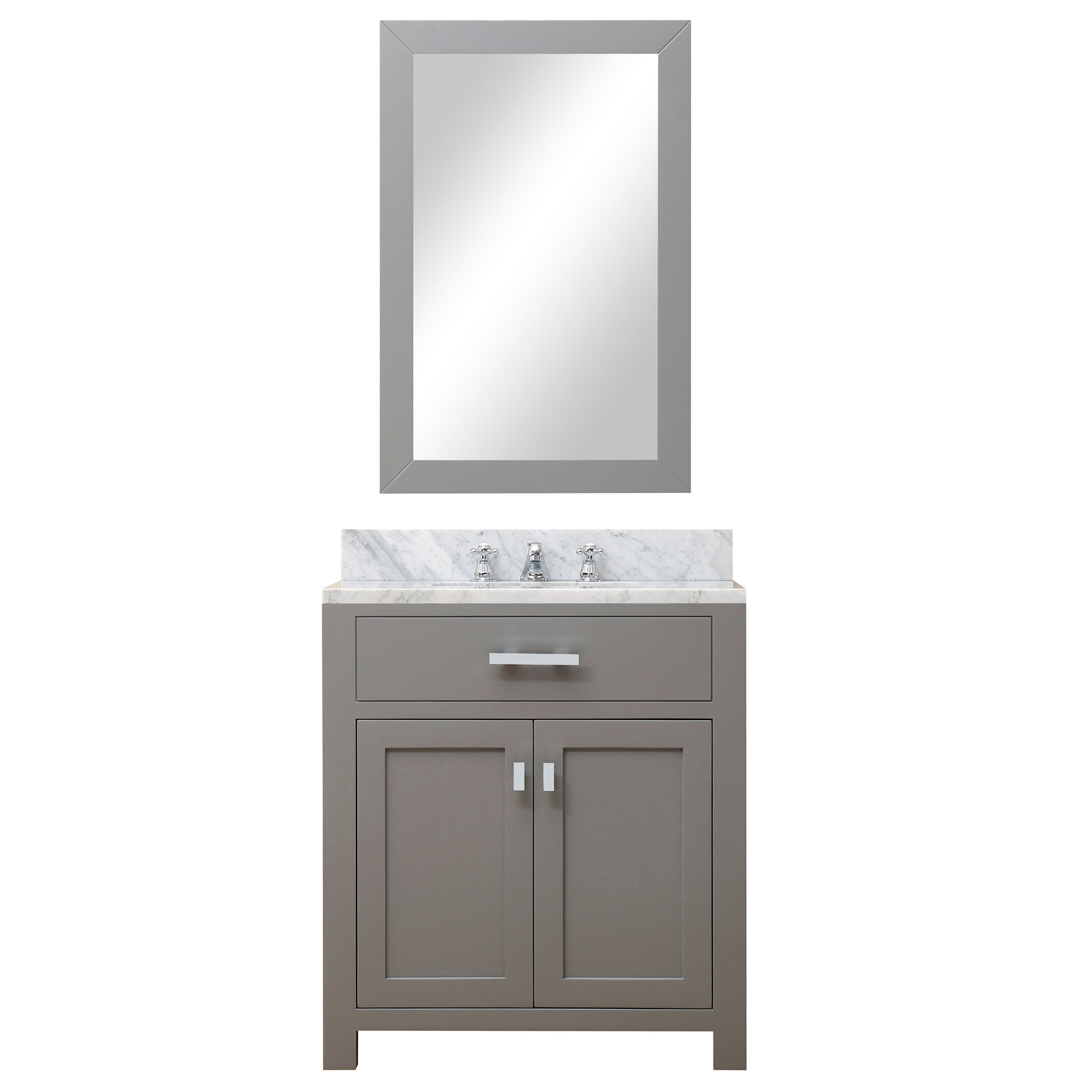 """Water Creation Madison30GBF 30"""" Grey Vanity With Mirror And Faucet Included"""