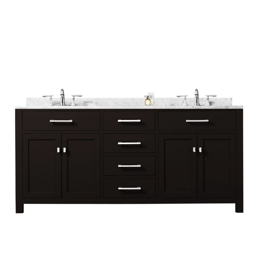 "Water Creation Madison72E 72"" Espresso Double Sink Bathroom Vanity"