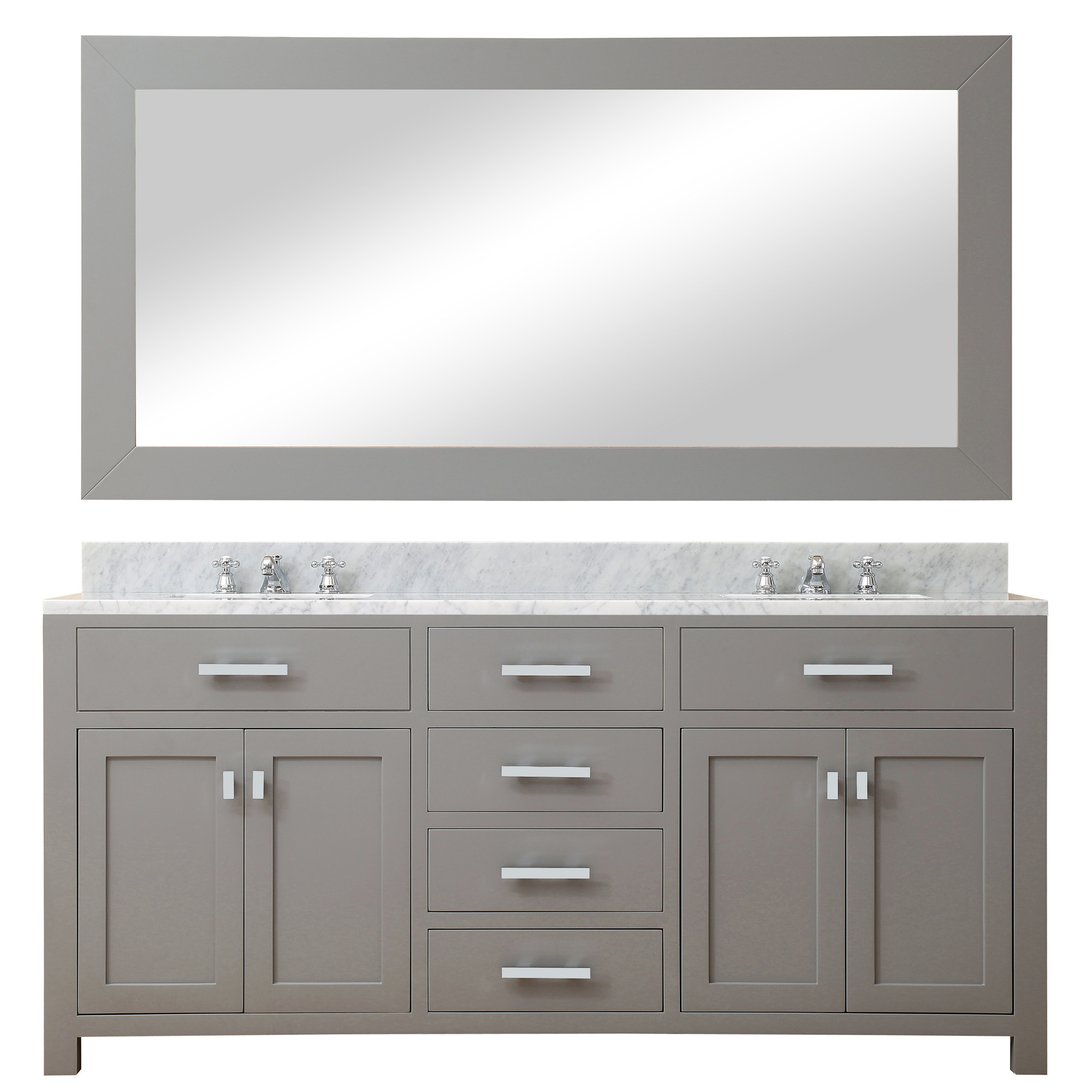 Water Creation Madison72GBF DUal Vanity With Marble Top, Mirror And Faucet
