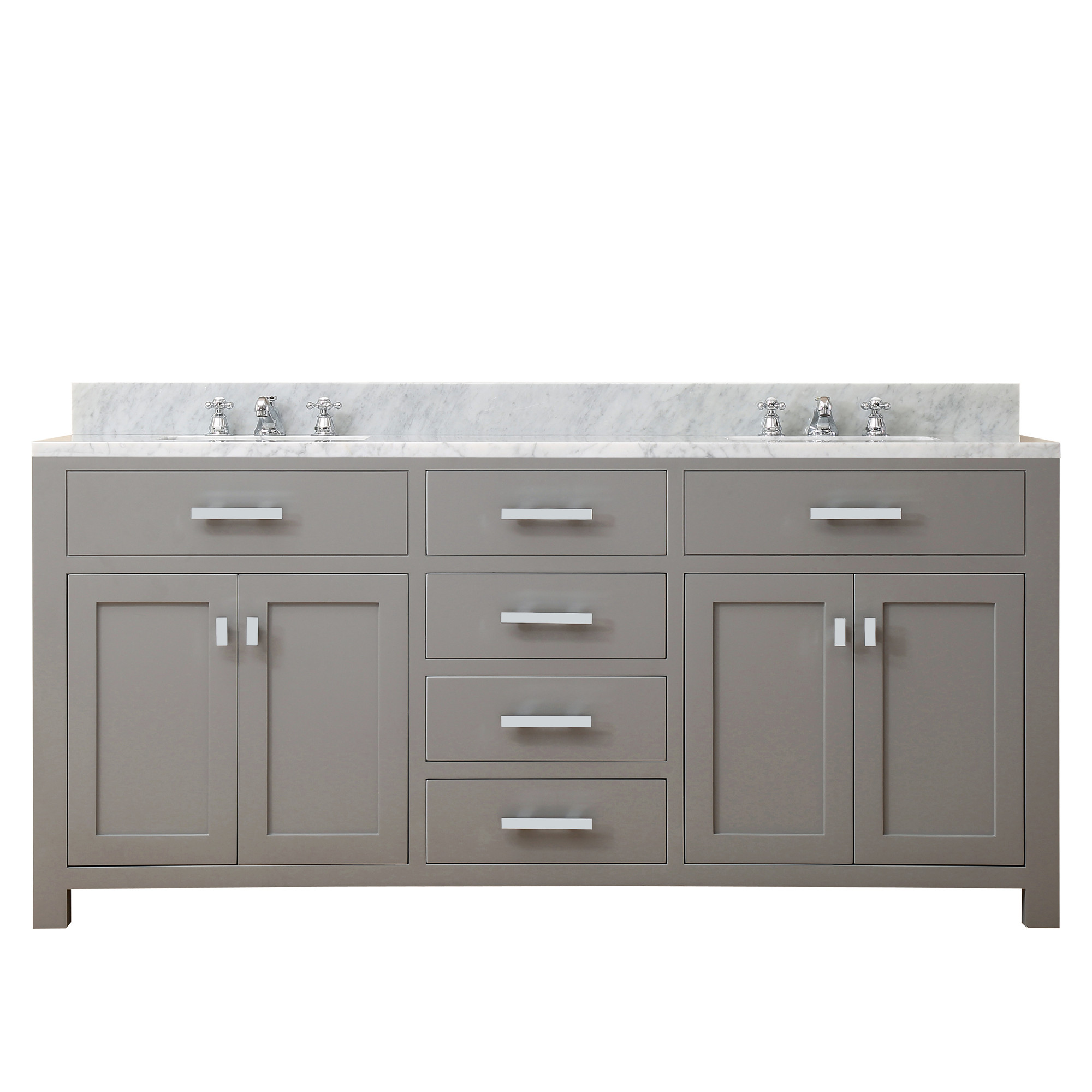 """Water Creation Madison72GF 72"""" Chrome Faucet Included Double Vanity In Grey"""