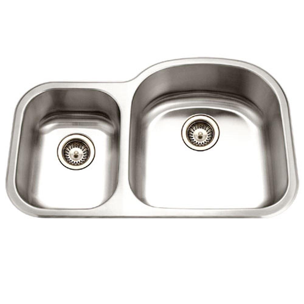 Houzer MC-3210SL-1 Undermount Stainless Steel 70/30 Double Bowl Kitchen Sink - Small Bowl Left