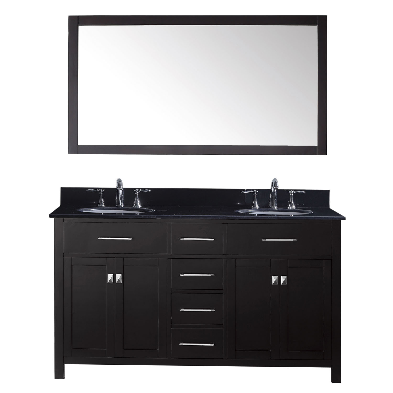 Virtu MD-2060-BGRO-ES-002 Caroline 60 Inch Double Bathroom Vanity Set In Espresso