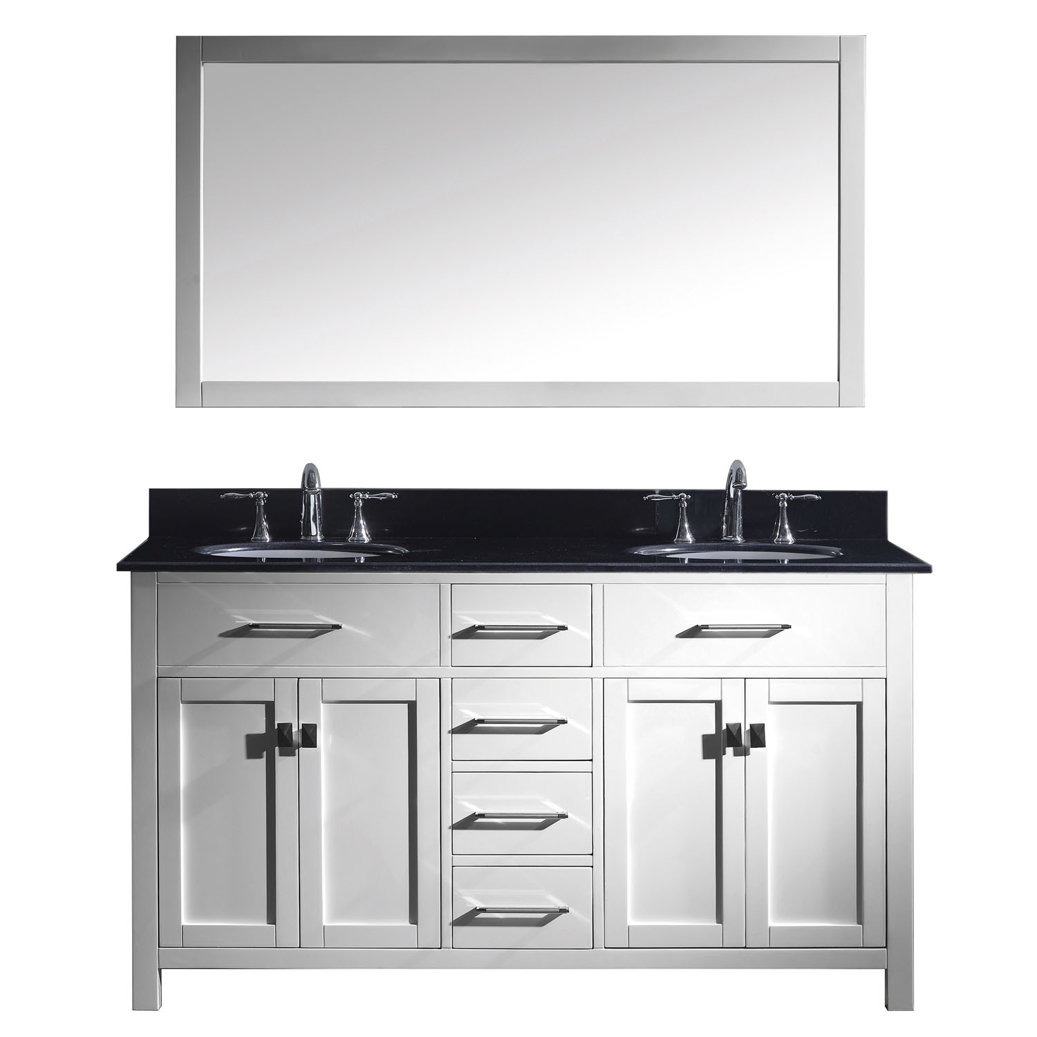 Virtu MD-2060-BGRO-WH-001 Caroline 60 Inch Double Bathroom Vanity Set In White