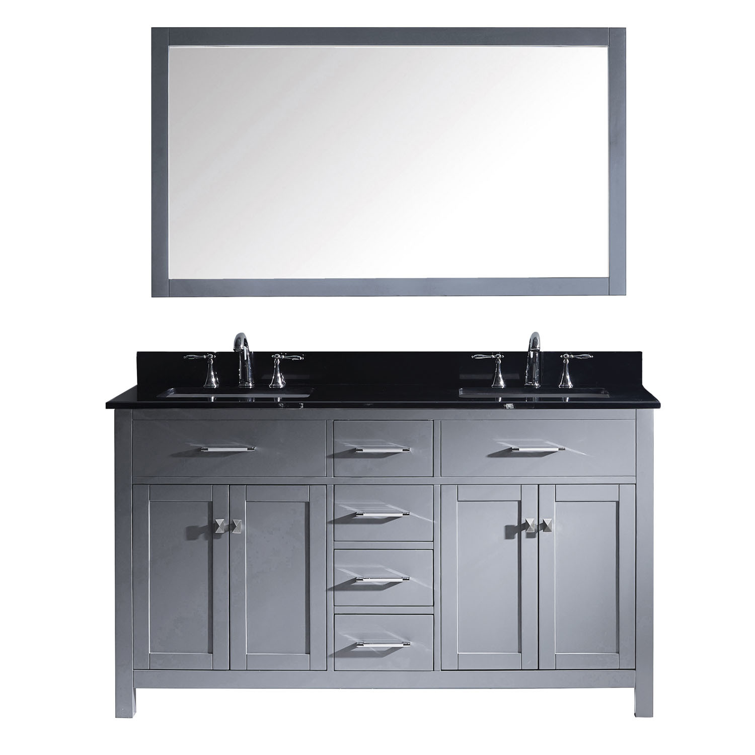 Virtu MD-2060-BGSQ-GR Caroline 60 Inch Double Bathroom Vanity Set In Grey