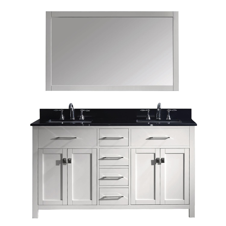 Virtu MD-2060-BGSQ-WH-001 Caroline 60 Inch Double Bathroom Vanity Set In White