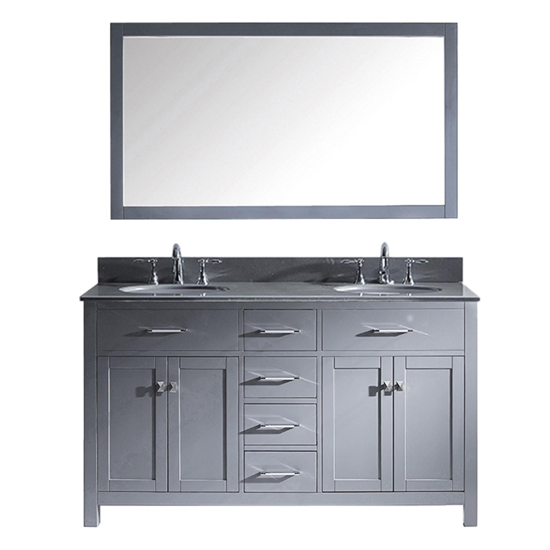 Virtu MD-2060-GQRO-GR Caroline 60 Inch Double Bathroom Vanity Set In Grey