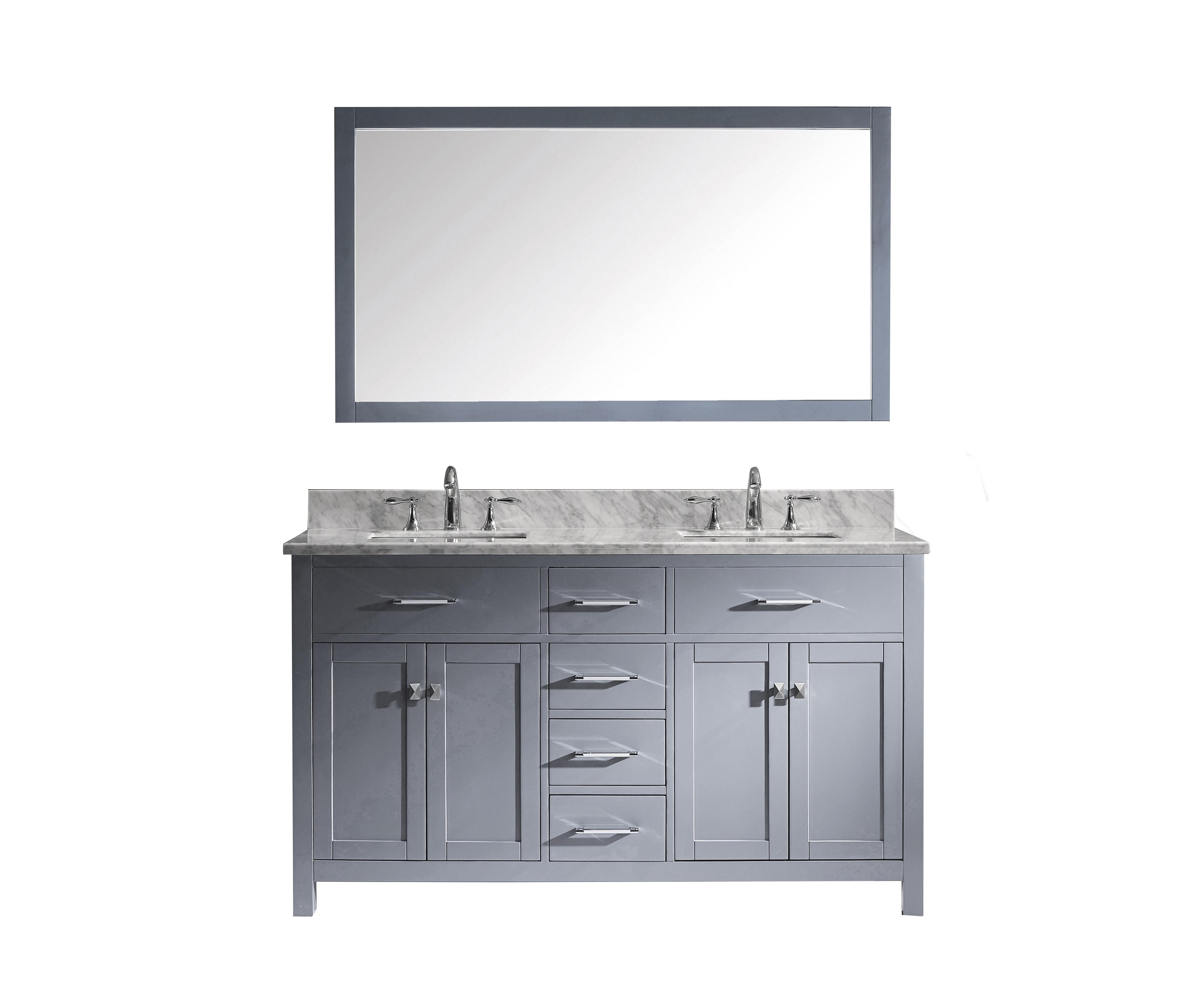 Virtu MD-2060-WMSQ-GR-002 Caroline 60 Inch Double Bathroom Vanity Set In Grey
