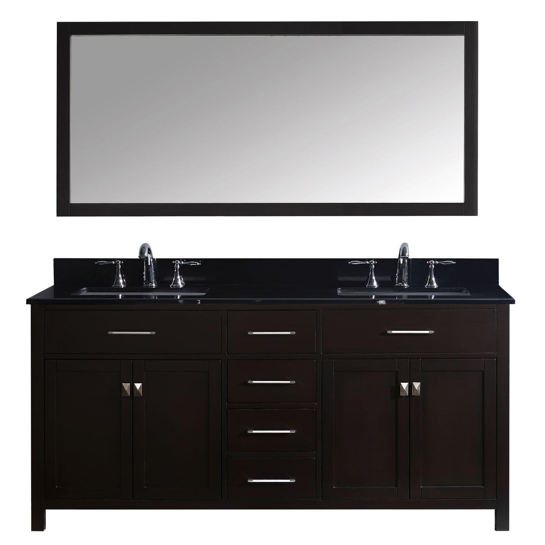 Virtu MD-2072-BGSQ-ES Caroline 72 Inch Double Bathroom Vanity Set In Espresso