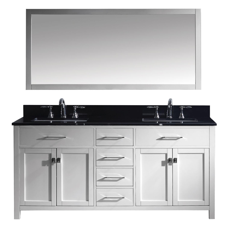 Virtu MD-2072-BGSQ-WH-001 Caroline 72 Inch Double Bathroom Vanity Set In White