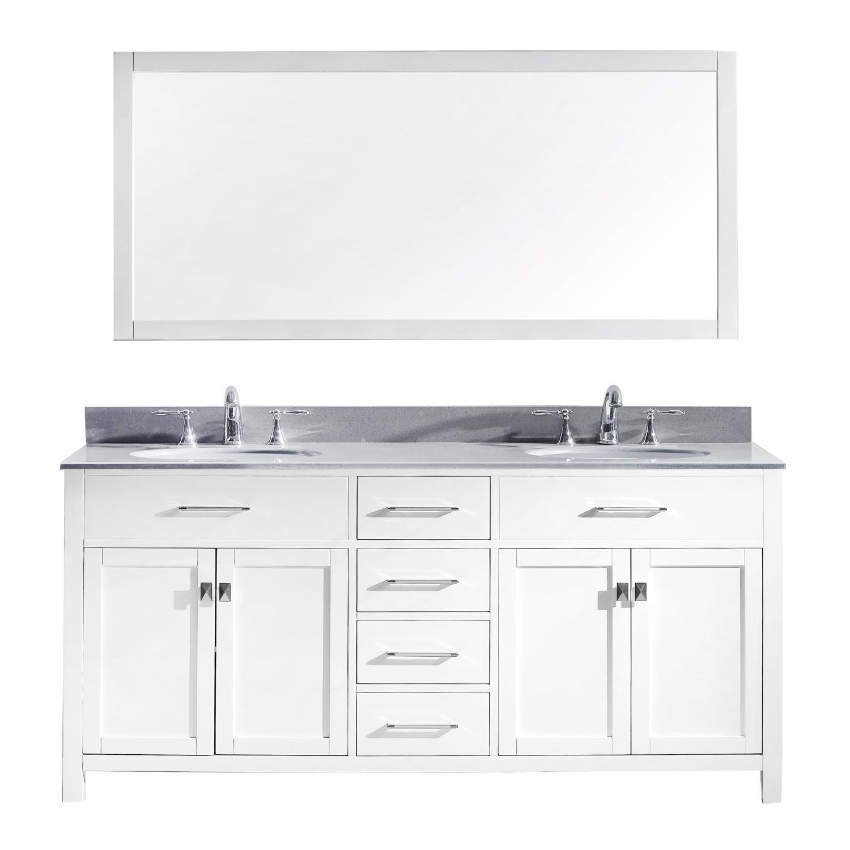 Virtu MD-2072-GQRO-WH Caroline 72 Inch Double Bathroom Vanity Set In White