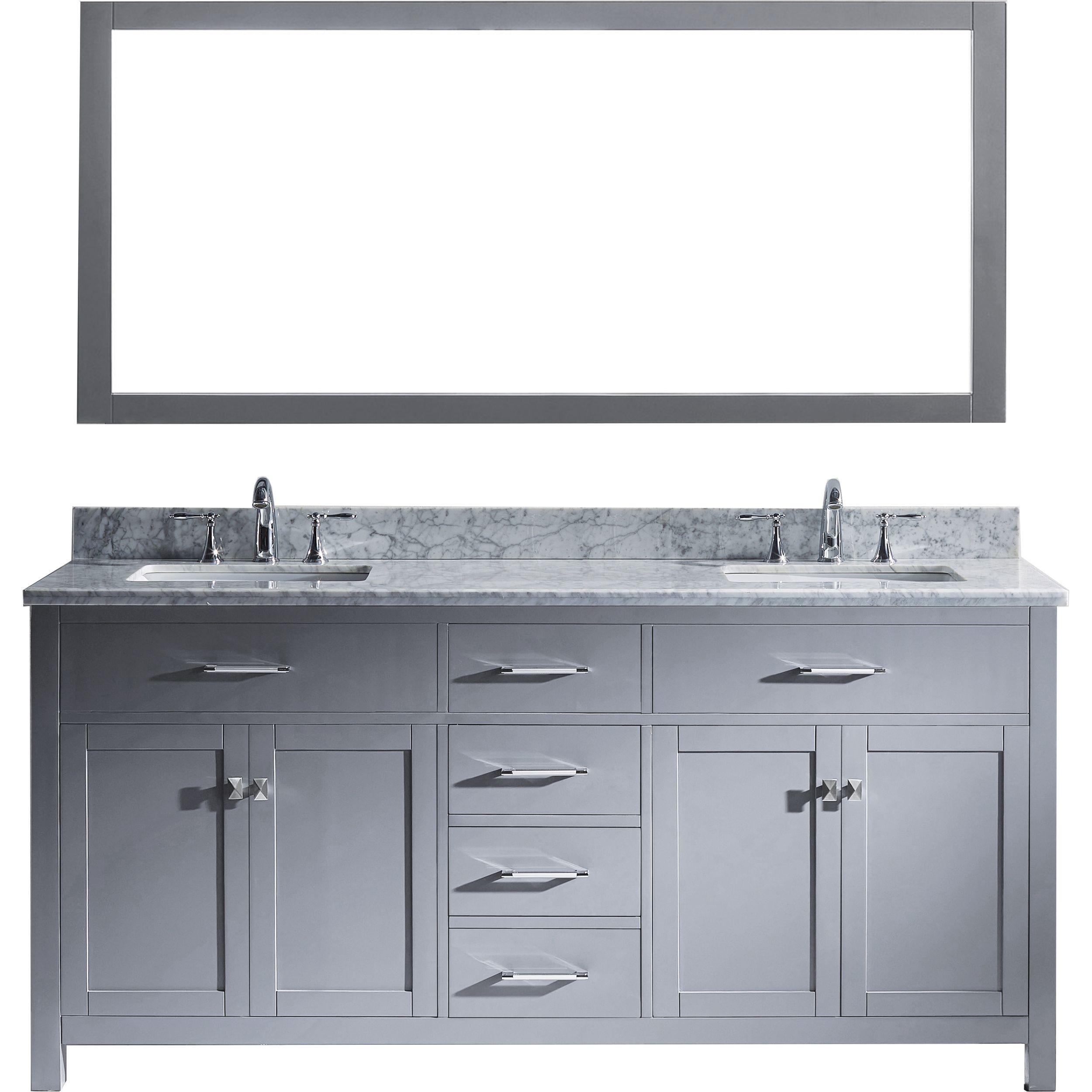 Virtu MD-2072-WMSQ-GR-002 Caroline 72 Inch Double Bathroom Vanity Set In Grey