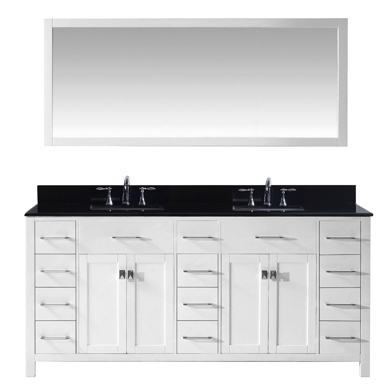 Virtu MD-2172-BGSQ-WH-001 Caroline Parkway 72 Inch Double Bathroom Vanity Set In White