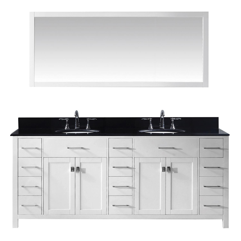 Virtu MD-2178-BGRO-WH Caroline Parkway 78 Inch Double Bathroom Vanity Set In White
