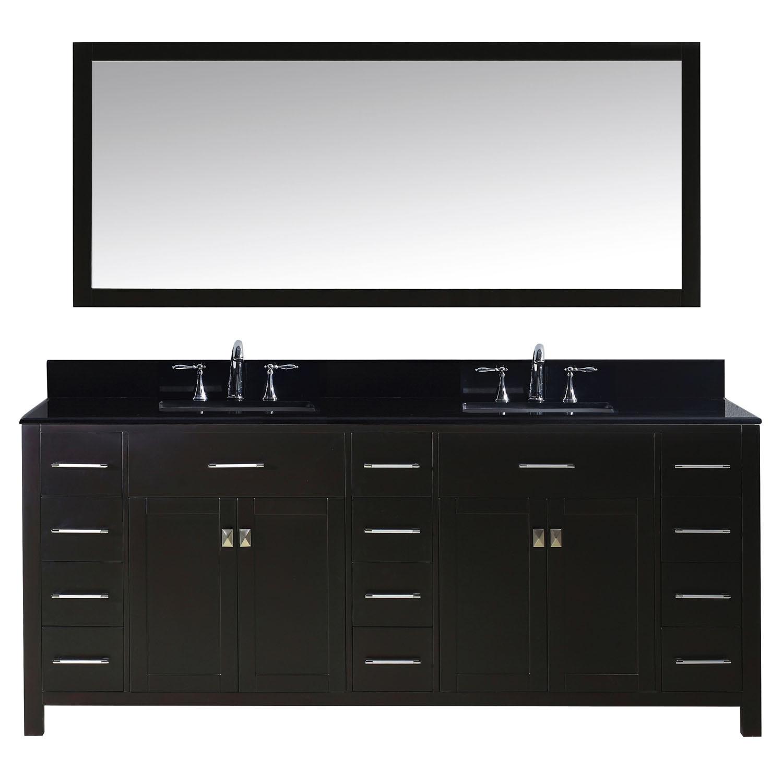 Virtu MD-2178-BGSQ-ES-002 Caroline Parkway 78 Inch Double Bathroom Vanity Set In Espresso