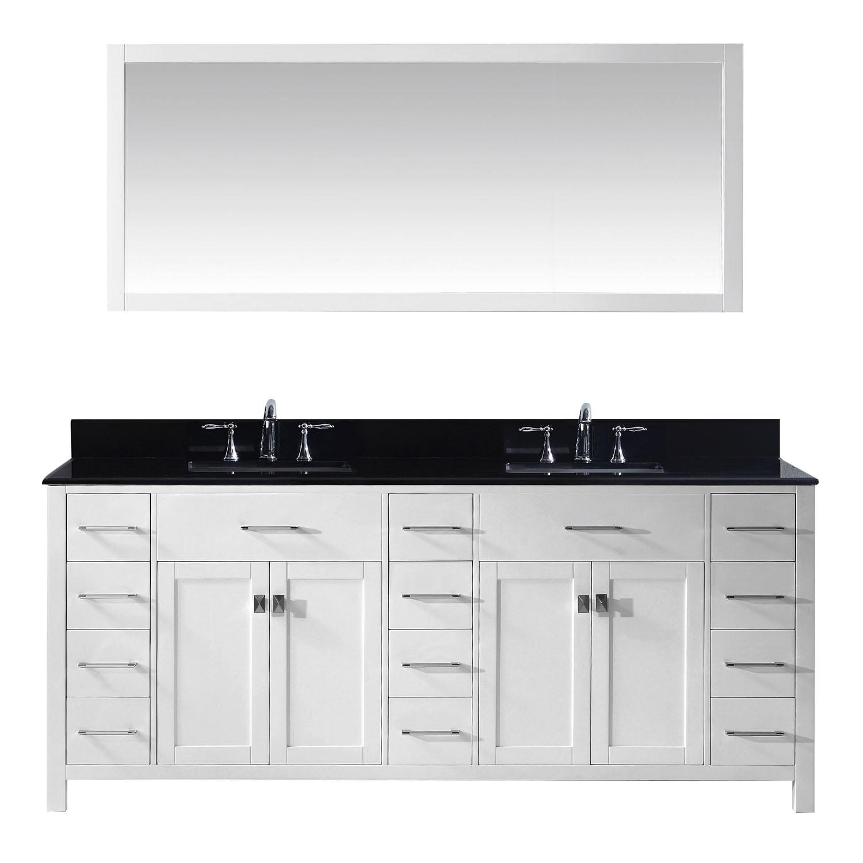 Virtu MD-2178-BGSQ-WH-001 Caroline Parkway 78 Inch Double Bathroom Vanity Set In White