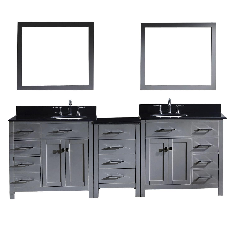 Virtu MD-2193-BGRO-GR-002 Caroline Parkway 93 Inch Double Bathroom Vanity Set In Grey