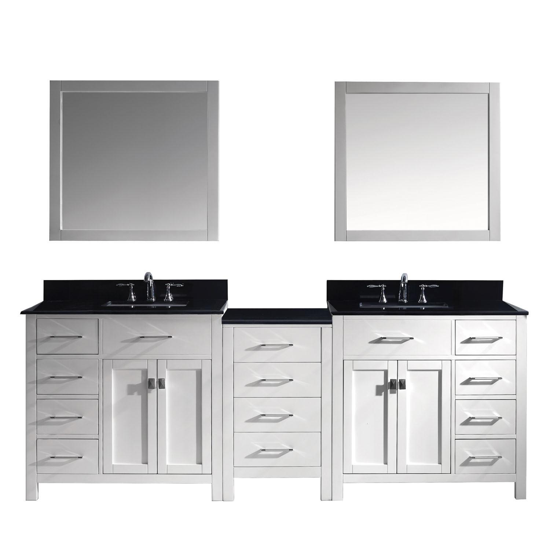 Virtu MD-2193-BGSQ-WH-002 Caroline Parkway 93 Inch Double Bathroom Vanity Set In White