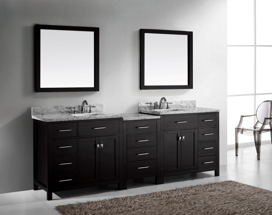 "Virtu MD-2193-WMSQ-ES-002 93"" Espresso Double Square Sink Bath Vanity"