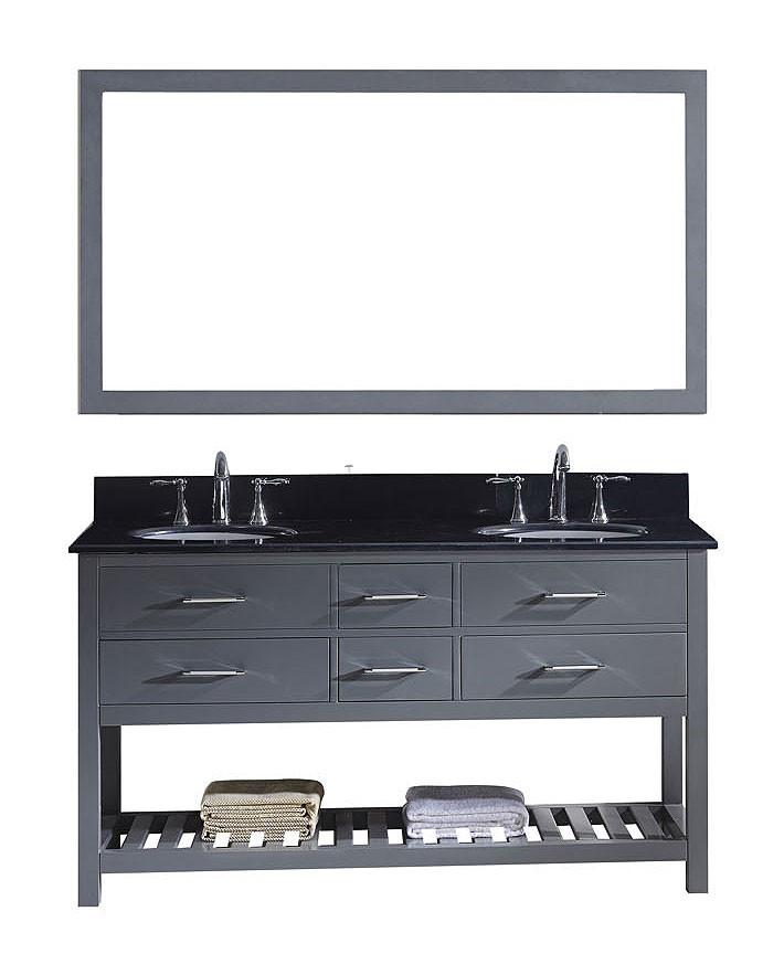Virtu MD-2260-BGRO-GR-012 Caroline Estate 60 Inch Double Bathroom Vanity Set In Grey