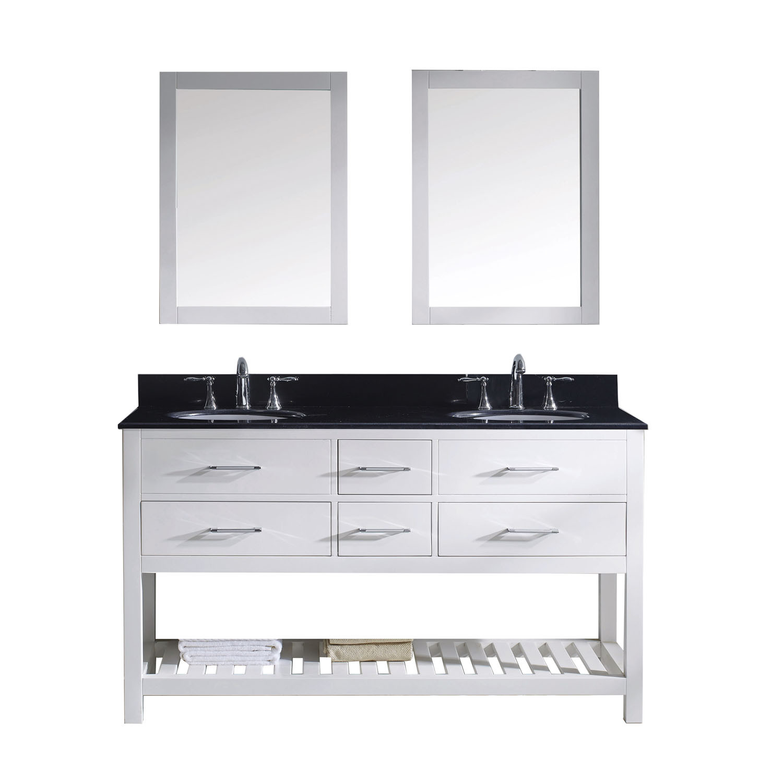 Virtu MD-2260-BGRO-WH-001 Caroline Estate 60 Inch Double Bathroom Vanity Set In White