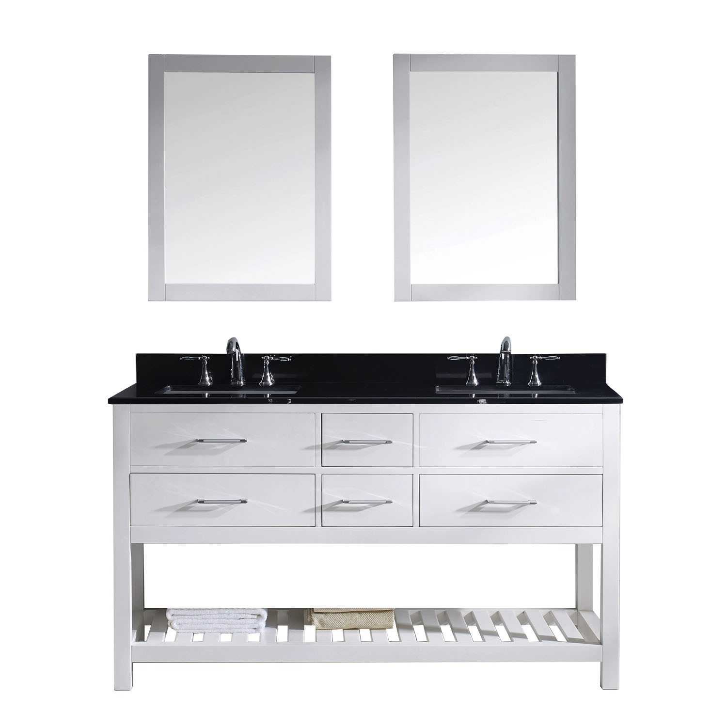 Virtu MD-2260-BGSQ-WH Caroline Estate 60 Inch Double Bathroom Vanity Set In White