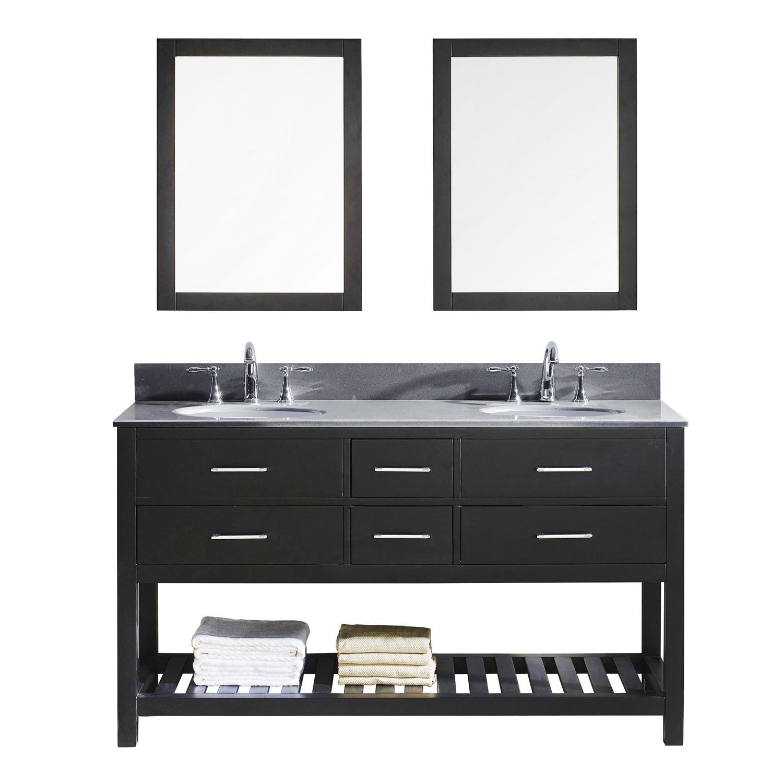 Virtu MD-2260-GQRO-ES-002 Caroline Estate 60 Inch Double Bathroom Vanity Set In Espresso