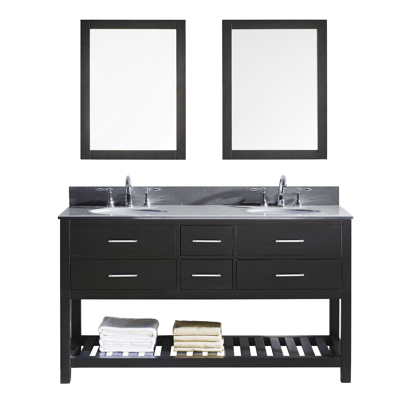 Virtu MD-2260-GQRO-ES Caroline Estate 60 Inch Double Bathroom Vanity Set In Espresso