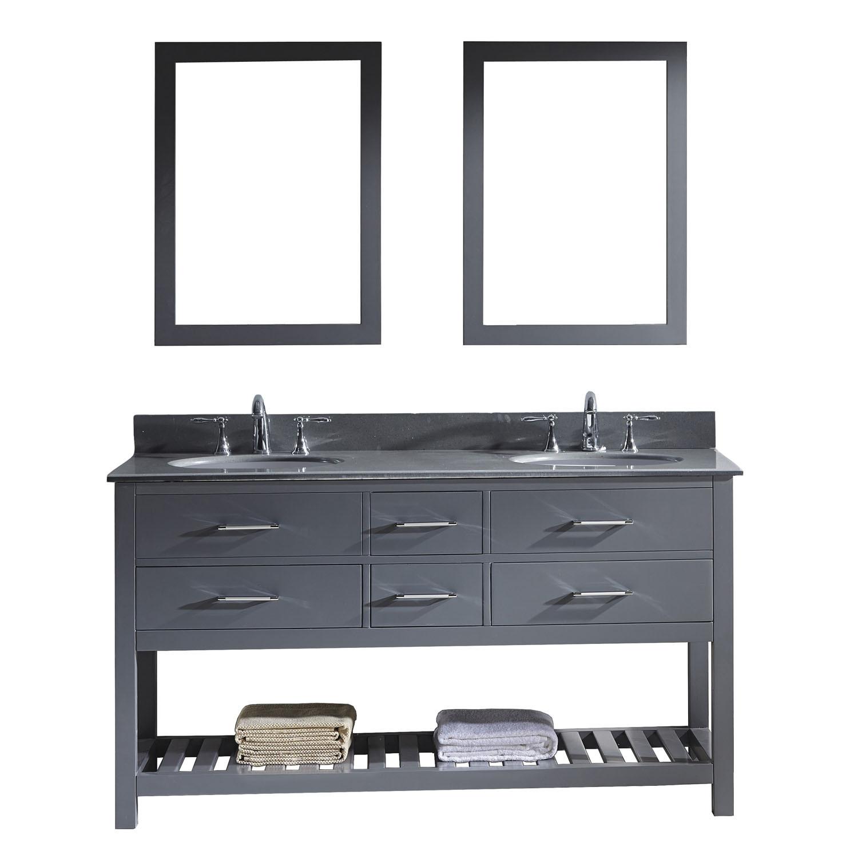 Virtu MD-2260-GQRO-GR-011 Caroline Estate 60 Inch Double Bathroom Vanity Set In Grey