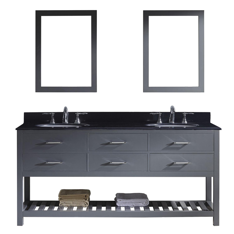 Virtu MD-2272-BGRO-GR-001 Caroline Estate 72 Inch Double Bathroom Vanity Set In Grey
