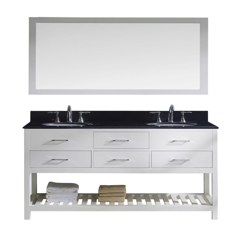 Virtu MD-2272-BGRO-WH-011 Caroline Estate 72 Inch Double Bathroom Vanity Set In White
