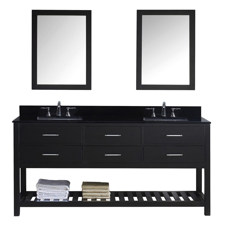 Virtu MD-2272-BGSQ-ES-001 Caroline Estate 72 Inch Double Bathroom Vanity Set In Espresso