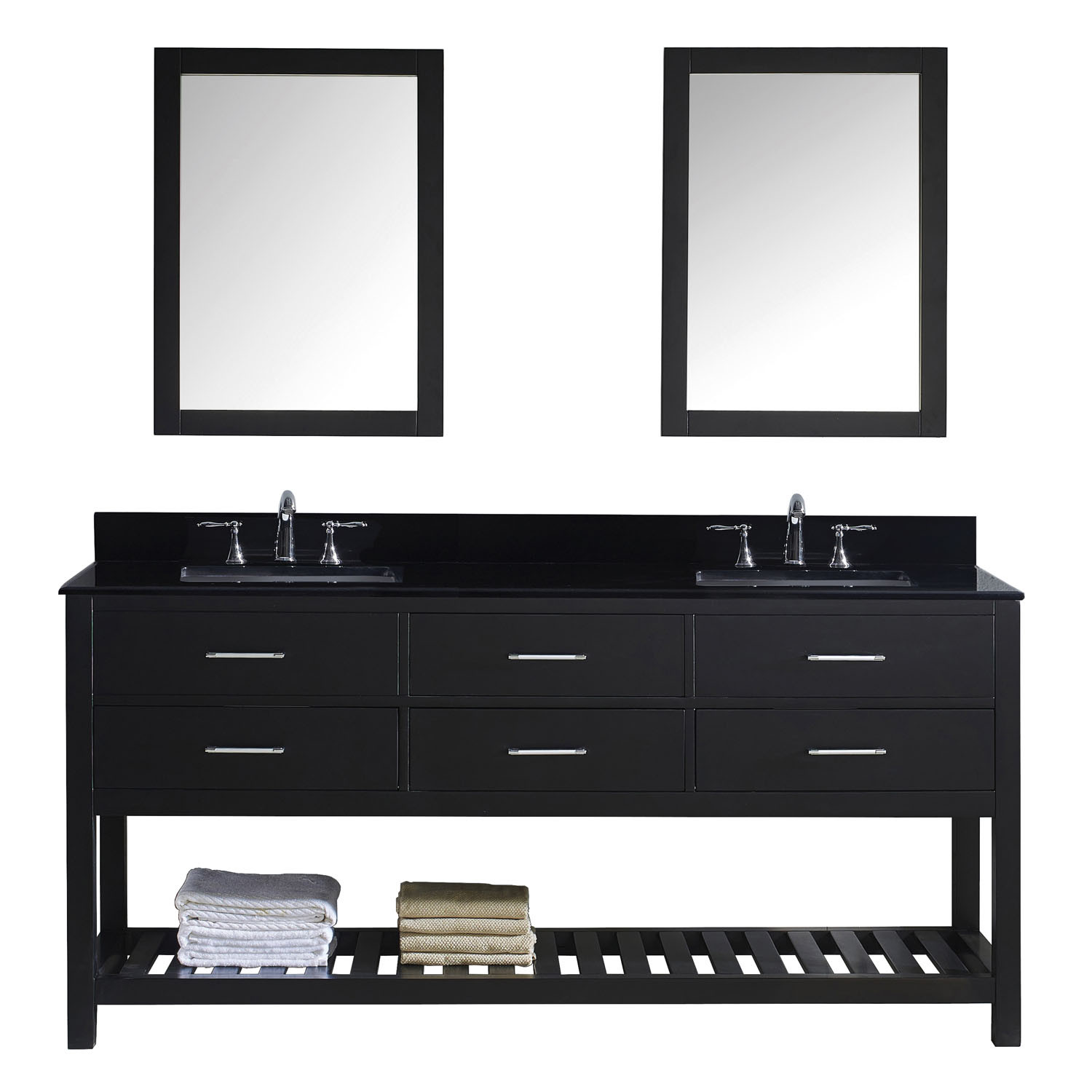 Virtu MD-2272-BGSQ-ES-002 Caroline Estate 72 Inch Double Bathroom Vanity Set In Espresso