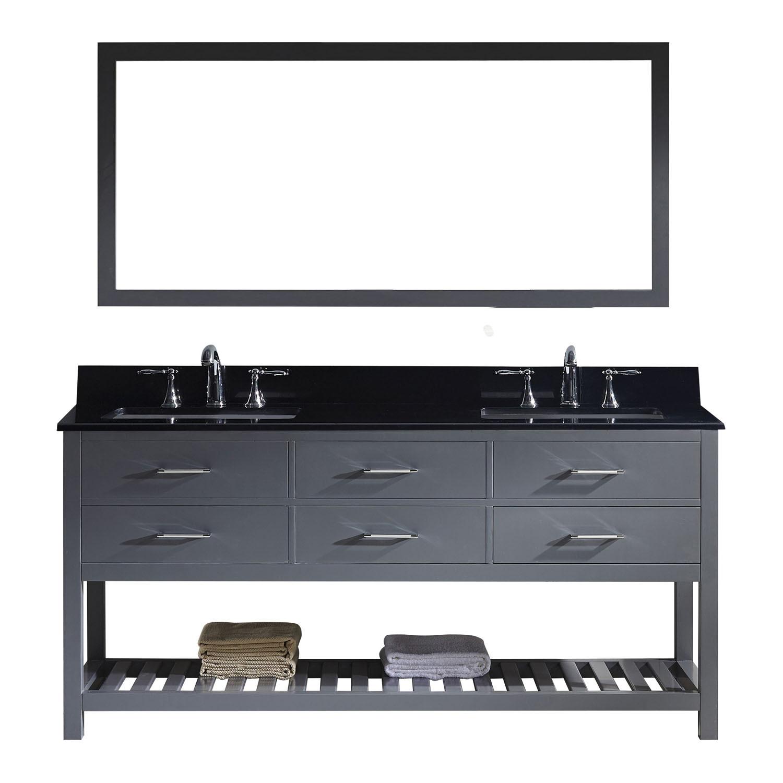 Virtu MD-2272-BGSQ-GR-010 Caroline Estate 72 Inch Double Bathroom Vanity Set In Grey