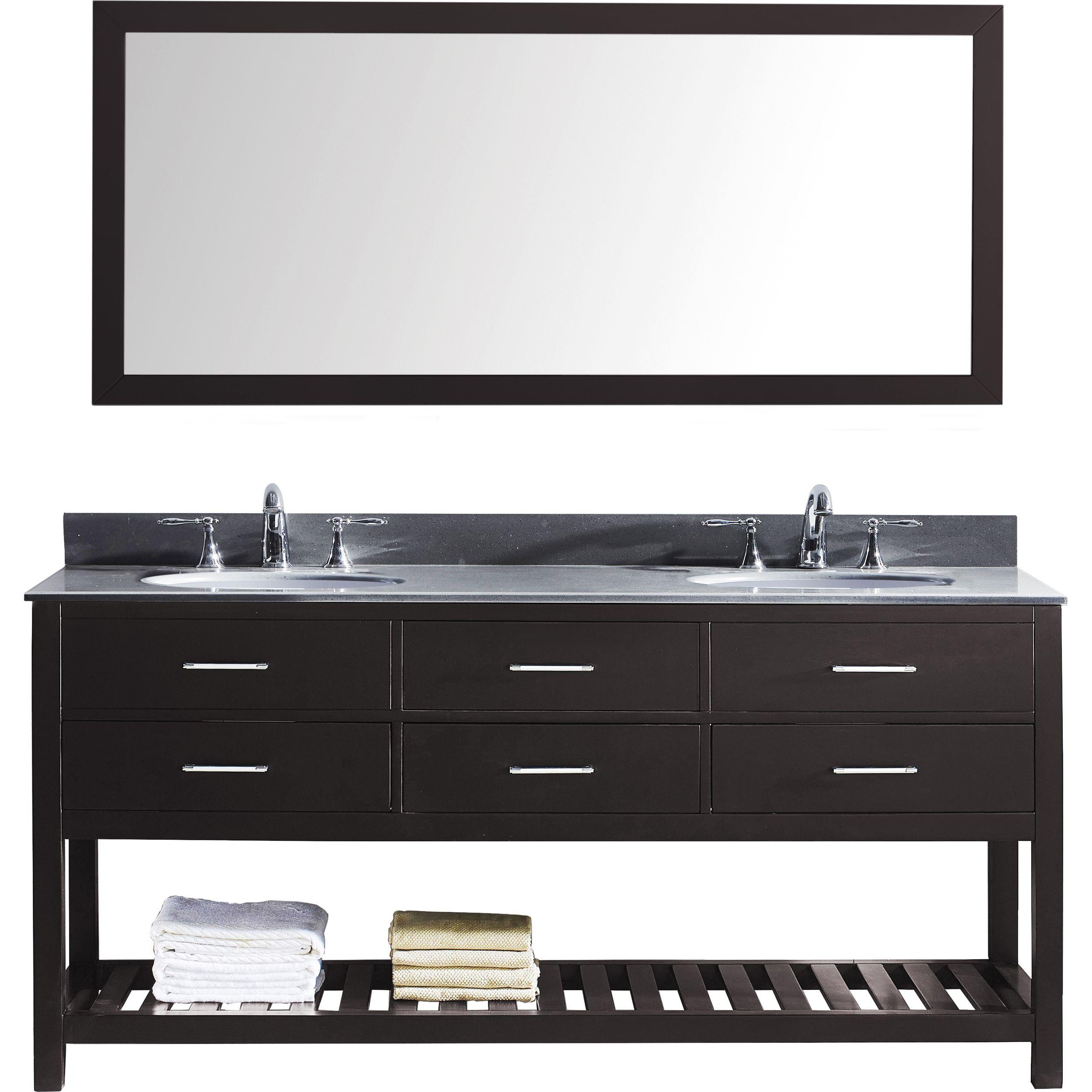 Virtu MD-2272-GQRO-ES-012 Caroline Estate 72 Inch Double Bathroom Vanity Set In Espresso