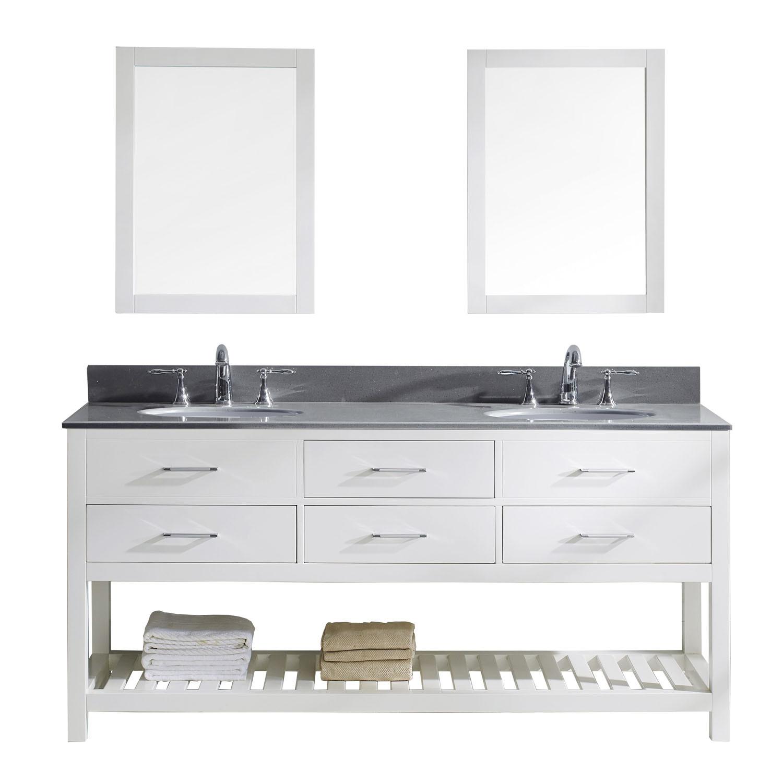 Virtu MD-2272-GQRO-WH-001 Caroline Estate 72 Inch Double Bathroom Vanity Set In White