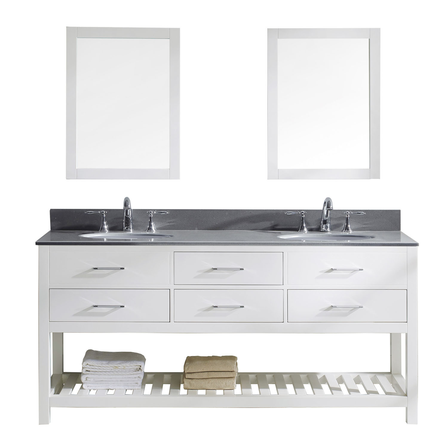 Virtu MD-2272-GQRO-WH-002 Caroline Estate 72 Inch Double Bathroom Vanity Set In White