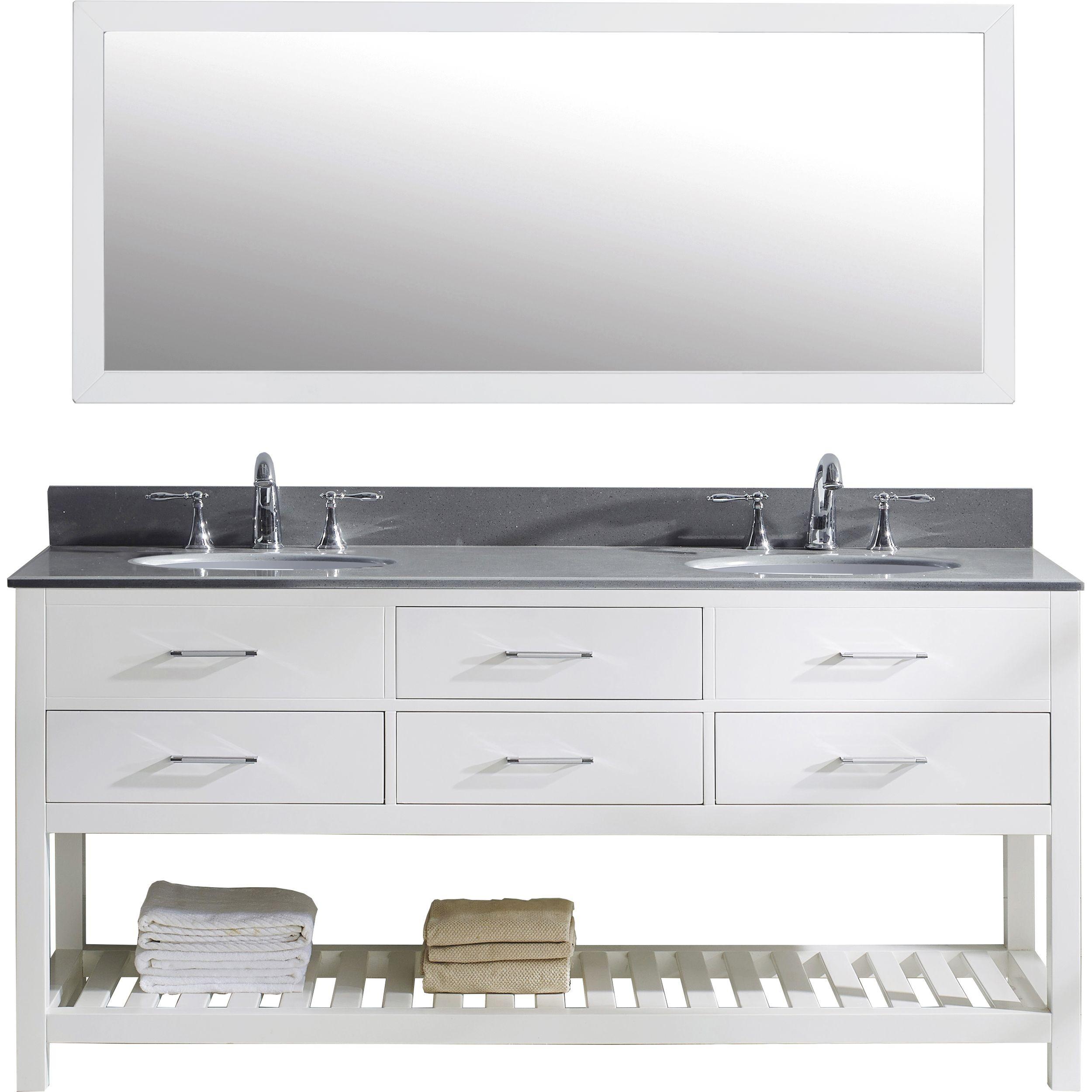 Virtu MD-2272-GQRO-WH-010 Caroline Estate 72 Inch Double Bathroom Vanity Set In White