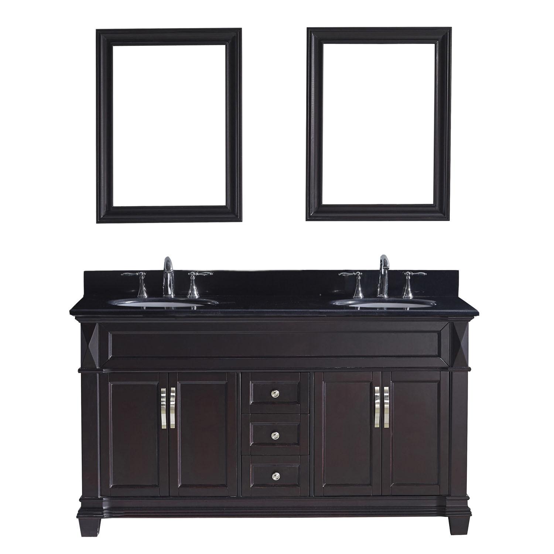 Virtu MD-2660-BGRO-ES Victoria 60 Inch Double Bathroom Vanity Set In Espresso