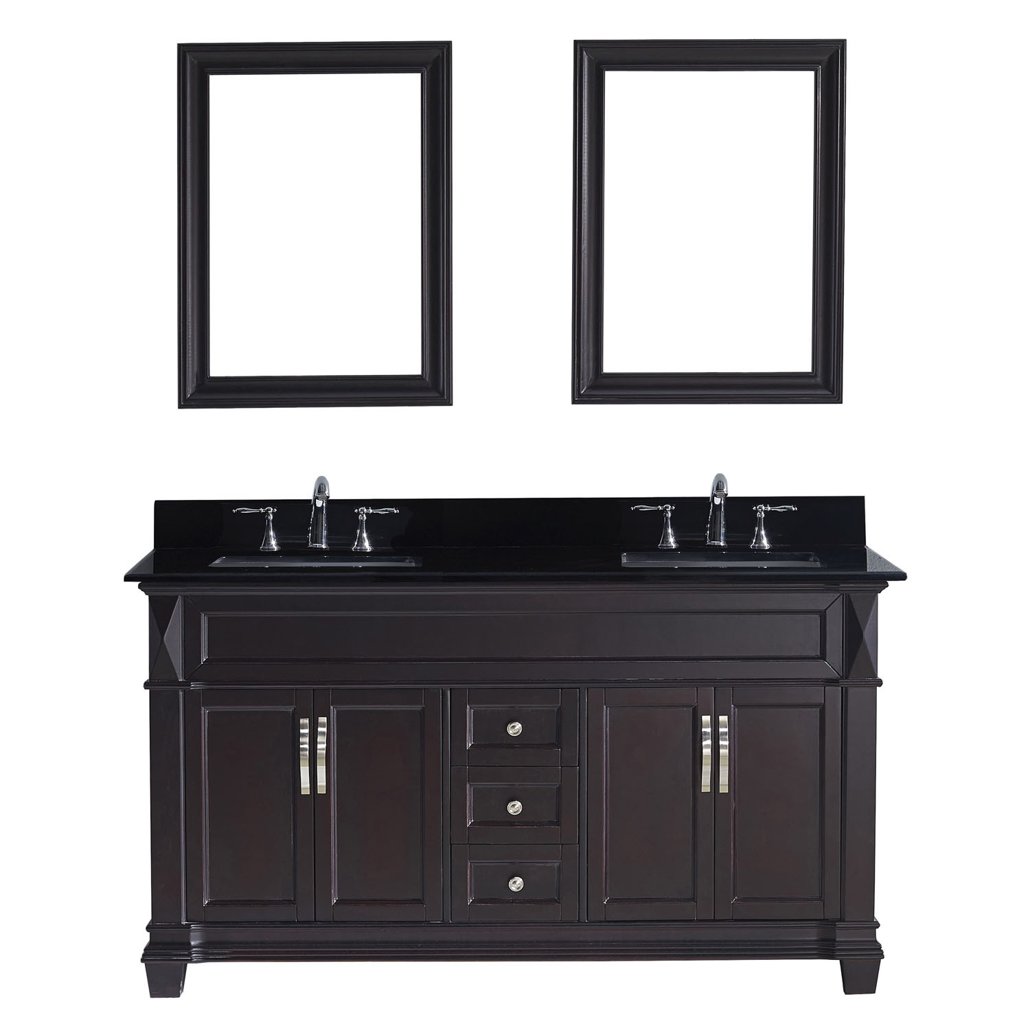 Virtu MD-2660-BGSQ-ES-001 Victoria 60 Inch Double Bathroom Vanity Set In Espresso