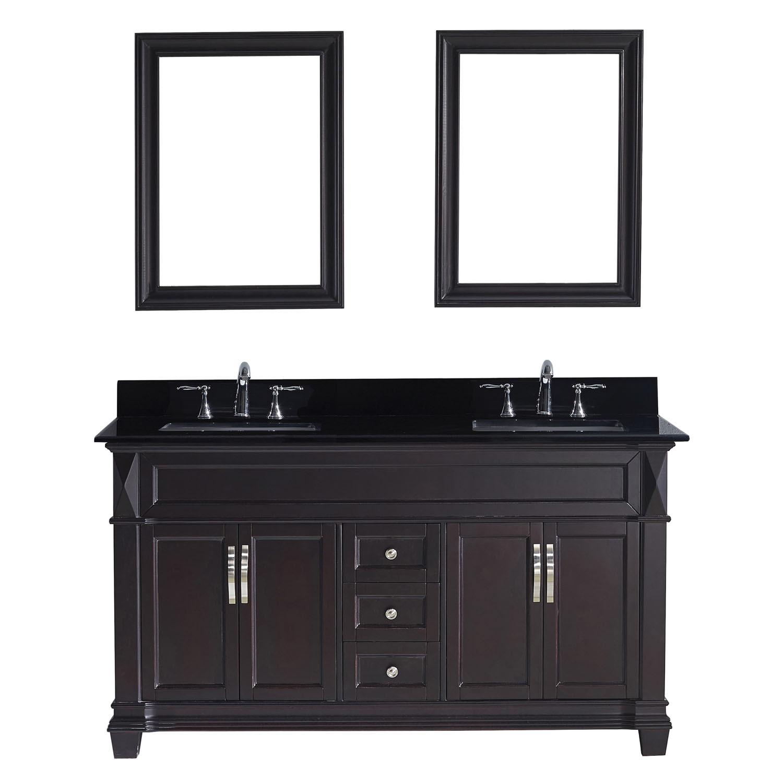 Virtu MD-2660-BGSQ-ES Victoria 60 Inch Double Bathroom Vanity Set In Espresso