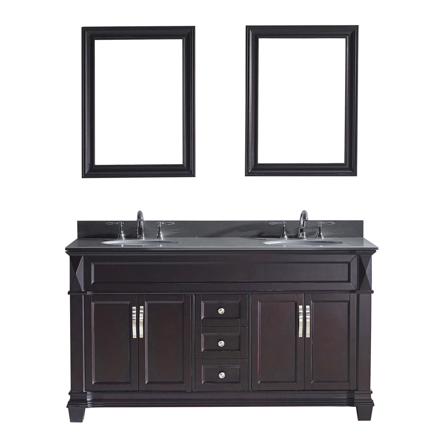 Virtu MD-2660-GQRO-ES Victoria 60 Inch Double Bathroom Vanity Set In Espresso